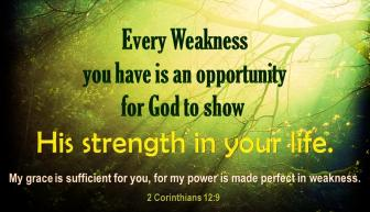 in weakness his power grace